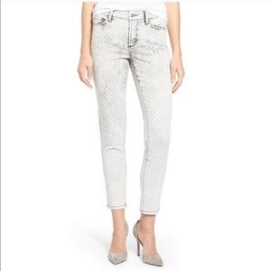 Clarissa Metallic Polka Dot Print Ankle Jeans